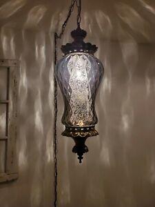 VTG Gray Smokey Swag Light Falkenstein Glass  Mid Century Hanging Lamp REWIRED