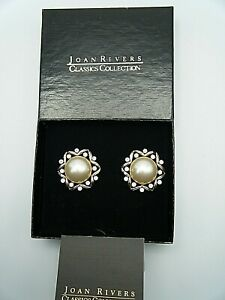 Collectible Vintage Joan Rivers Classic Collection Pearl & Crystal Earrings Clip