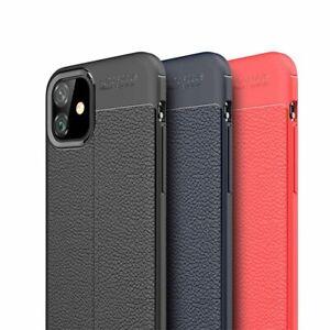 Coque Noir Effet Cuir Housse TPU iPhone 12 Mini 12 Pro Max 6 S/7/8/XS/XR/11 SE