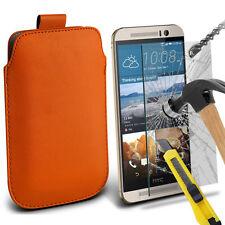 Naranja Funda de Cuero Sintético con Lengüeta Funda & Cristal para HTC One M9