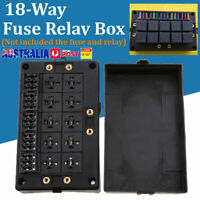18 Way Fuse Relay Box Holder Block Circuit Protector Terminals Black Automotive