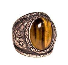 Sterling silver men ring, steel pen craft handmade, tiger-eye natural stone