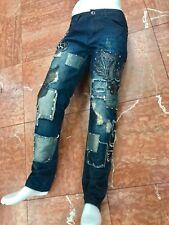 Men's Blue Denim Patchwork Pants