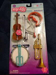 "My Life As 9 Piece Music Play Set for 18"" Dolls Violin Drums Trumpet Triangle"
