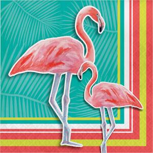16 x Island Oasis Tropical Party Flamingo Napkins Hawaiian Beach theme