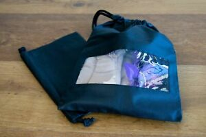 SHOE BAG For DANCE & ACCESSORIES  Drawstring Style TWO PACK Black/Clear Window
