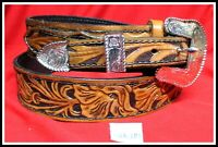 Vintage HAND TOOLED WESTERN BELT with Beautiful  3 PIECE BUCKLE SET Size 40 42