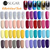 6 Bottles 7.5ml UV Gel Nail Polish Soak Off Gel Nails Base/Top Coat Manicure DIY