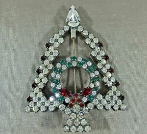 VTG CHUBBY CHRISTMAS TREE WITH WREATH INSIDE PRONG SET RHINESTONE BROOCH PIN