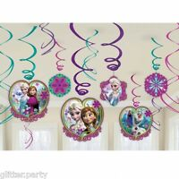 12 x Frozen Birthday Party Anna Elsa Olaf Hanging Ceiling Swirl Decorations