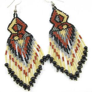 Handmade Native style Artisan Ethnic beaded Brown Seed Bead hook Earrings E12/1