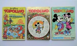 3 WALT DISNEY TOPOLINO ITALIAN COMIC BOOKS FROM 1987 & 1989: 1635, 1764 & 1779