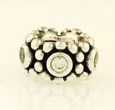 Genuine PANDORA Sterling Silver Swarovski Crystal Beaded Charm (5x10mm)