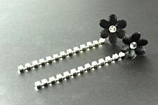 Fancy Floral Negro Aretes espárragos y colgando único Piedras Preciosas Strand. (cl13)