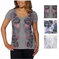 DKNY Jeans Ladies Short-sleeve Scoop-Neck Printed Tee