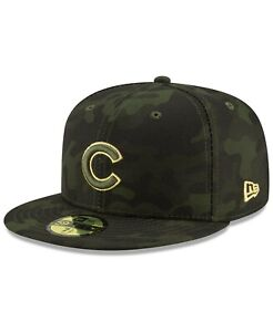 Chicago Cubs MLB New Era 2019 LP 59Fifty Camo OF AFD Fitted Hat Green Size 7 1/2