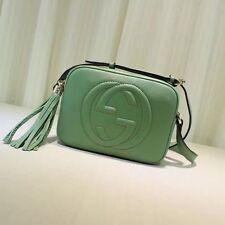 Authentic-Gucci-soho-Light-Green-Disco Leather Cross Body Bag Purse