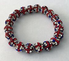 Lovely Shamballa drapeau UK Extensible Bracelet - 20 Disco Perles-Tchèque Cristal-UK