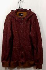 Hurley Hoodie/Jacket Size XL Cotton Blend Zip Front Deep Wine Color
