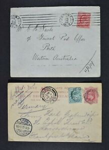 Three (3) postal items, each with London F. S. (Foreign Section) postmarks.