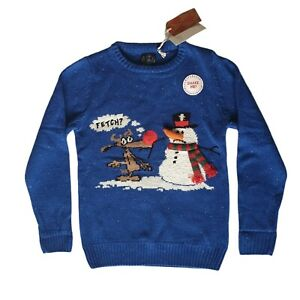NEXT Boys Christmas Jumper Age 10 Blue Snowman Reindeer Festive Cotton Blend