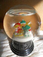 Vintage Christmas Winter Glass Snow Globe Shaker Kids on Sled Austria 1980s