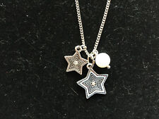 """Silvertone Star and Acrylic White Pearl 16""""-19"""" Adjustable Charm Necklace"""