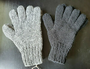 Handknitted Pure Wool Woollen Plain Gloves,Fleece Lined, Men, Women