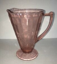 "DEPRESSION GLASS PINK  PITCHER ETCHED FLORAL PATTERN ~ 7.75"" TALL ~ NO CHIPS"