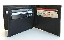 BLACK LEATHER ID Badge Center Flap Hipster Big Card 12 Slot Men's Bifold Wallet