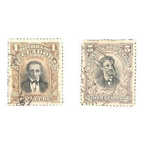 ECUADOR, SCOTT # 146+151(2), 1901 HISTORICAL FIGURES ISSUE USED