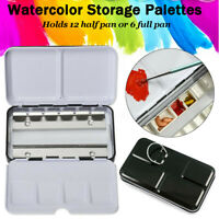 Portable Watercolor Metal Travel Artist Case Empty 12 Half Pans Storage Palettes