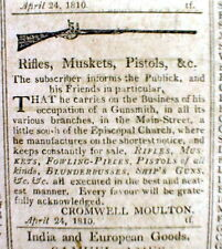 1810 Providence RHODE ISLAND newspaper w/ illustrated GUN Rifle MUSKET Pistol AD