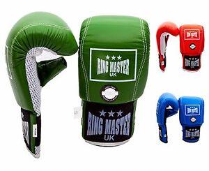 RingMaster Genuine Leather Bag Gloves Mitt Boxing Punch Training MMA Workout