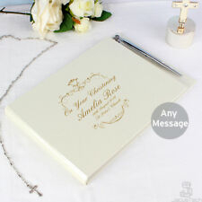 PERSONALISED Christening Guest Book & Pen Gold text GUESTBOOK Baptism Naming Day