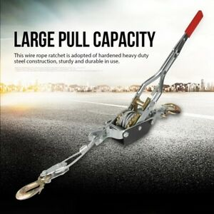 4T Double Manual Winches Hook Wire Rope Ratchet Dual Gear Manual Power Puller UK