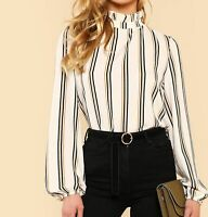 Frilled Collar Stand Collar Long Sleeve Striped Blouse Top Casual Work