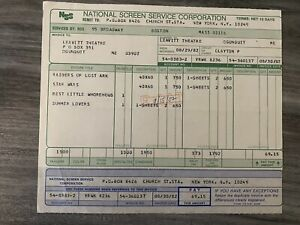 1982 Raiders Of The Lost Ark And Empire Strikes Back Theater Poster Invoice
