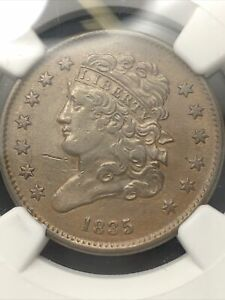 Scarce 1835 Classic Head US Copper 1/2 Half Cent Graded NGC XF Details Cleaned
