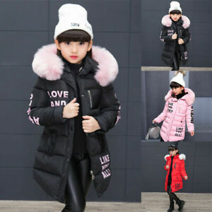 NEW Girls Thick Coat Kids Hooded Padded Thick Parka Long Fur  Warm Jacket Winter