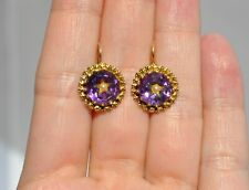 OLD VTG 14K SOLID GOLD AMETHYST EARRINGS - GOLD HALO - CELESTIAL STAR SEED PEARL