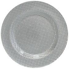 Glass Large Serving Plate Charger Plate Ornamental Plate Silver 33cm Chequered