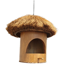 Vie Naturals Bird House, Bamboo With Coconut Roof,Approximately 22cm Hanging Hei