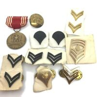 LOT Of 13 VTG Military Medals Rank Insignia Pins Army Armed, Forces Good Conduct