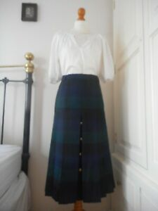 House Of Bruar Pleated Plaid Tartan Skirt Wool Blue Green Size 12 Lined Office