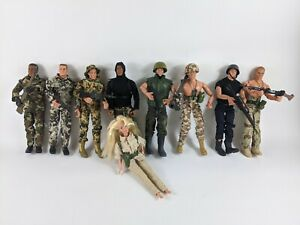 Vintage GI JOE 90's 12 inch Figures With Clothing Accessories Weapons Lot Barbie
