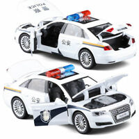 UK 1:32 Audi A8 Police Alloy Car Model Toy Vehicles Pull Back Flashing Musical