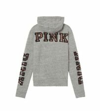 0da4945c704e4 Victoria s Secret Pink Black Gold Bling Fleece Hoodie Marl Gray XS