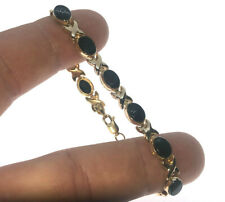 Women's 14K Yellow Gold Black Onyx XO Design Bracelet 7""