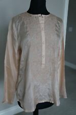NEW Anthropologie Day Birger Mikkelsen RICAMO Peach Silk Embroidrd Blouse Top S